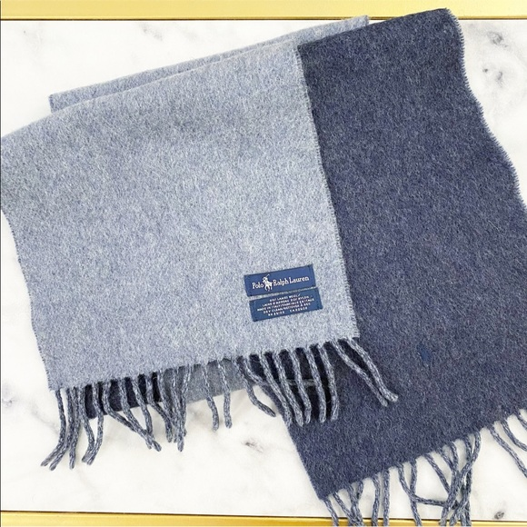 Polo Ralph Lauren Double Sided Blue Wool Scarf